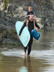 Dan on his way back from a surf with Cody