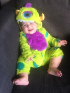 Baby S loves his new Monsters Inc Costume - so do I