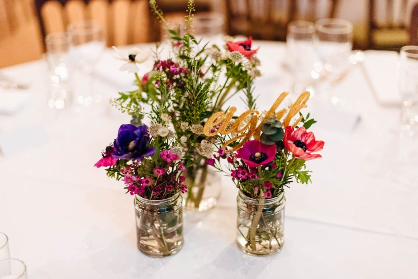 The colours looked stunning ; the jars were dotted around the whole venue