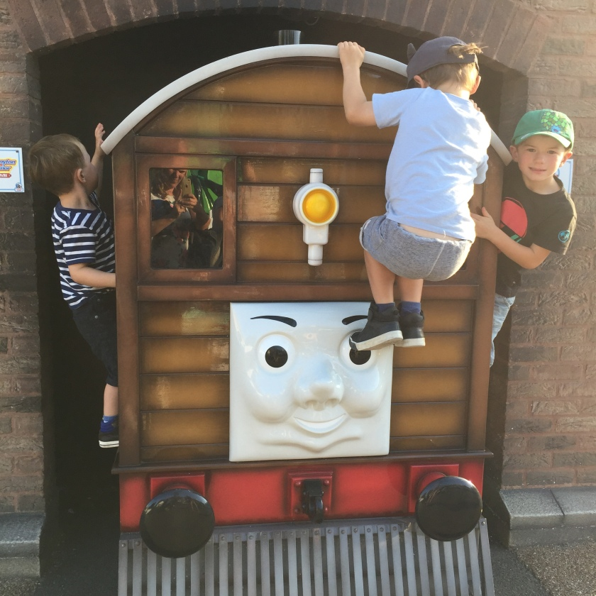 The boys loved clambering on the engines dotted around Thomasland